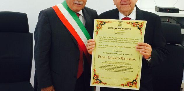 Sindaco di Acerno Vito Sansone e il prof. Donato Matassino